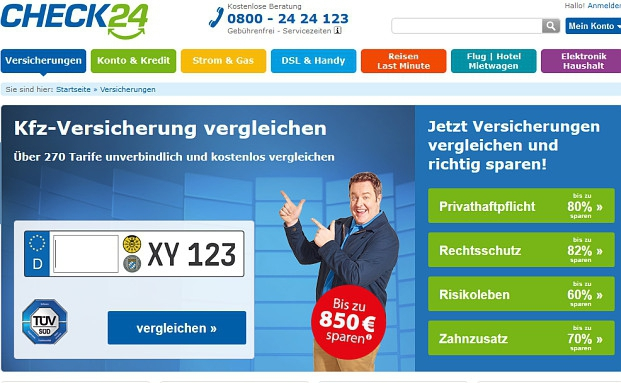 Screenshot der Check24-Webseite.