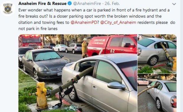 US-Feuerwehr verlegt Schlauch durchs Autofenster
