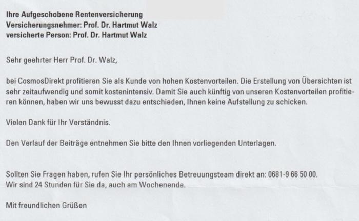 Was Hartmut Walz beim Nachrechnen seiner Fondspolice erlebte
